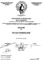 Diplome de Specialisation Professionnel en Musicotherapie Jean Monnet